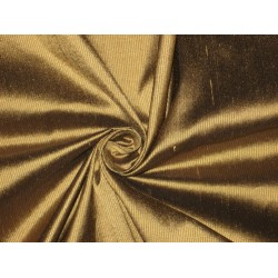 PURE SILK Dupioni FABRIC Gold & Brown color thin Stripes