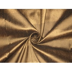 PURE SILK Dupioni FABRIC Golden Brown & Burnt Brown color Stripes
