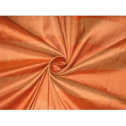 PURE SILK Dupioni FABRIC Shades of Orange color Stripes