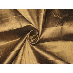 PURE SILK Dupioni FABRIC Golden Brown x Black Shot color