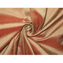 SILK Dupioni FABRIC Salmon with Green shot
