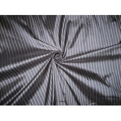 PURE SILK Dupioni FABRIC Dark Navy Blue & Silver color