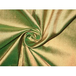 SILK Dupioni FABRIC Light Golden Copper with Green shot