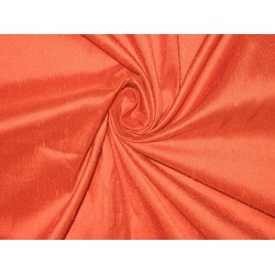"SILK Dupioni FABRIC 44"" Bright Orange Colour"