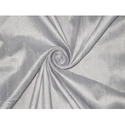 "100% Pure SILK Dupioni FABRIC Light whiteish Silver 54""DUP130[1]"