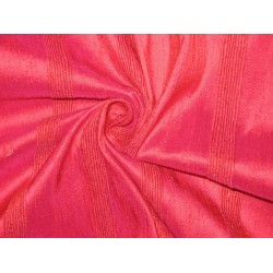 Pure SILK Dupioni FABRIC Dark Indian Pink stripes