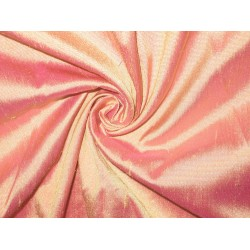"SILK Dupioni FABRIC 44"" Iridescent Pink x Yellow Co"