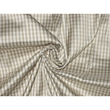 "SILK Dupioni FABRIC Beige & Cream Colour plaidsDUPC7[7] 44"" wide sold by the yard"