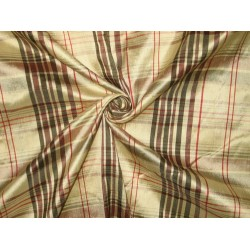 SILK Dupioni FABRIC Gold with Multi color plaids 54""