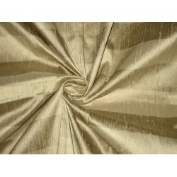 Pure SILK Dupioni FABRIC Light Gold & Greyish Gold stripes