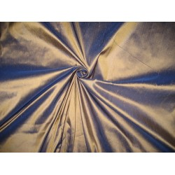 Pure SILK Dupioni FABRIC Iridescent Antique Gold x Royal Blue 54""