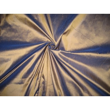 "Pure SILK Dupioni FABRIC Iridescent Antique Gold x Royal Blue 54""DUP#40[1]"