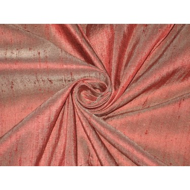 100% Pure SILK Dupioni FABRIC Maroon with Ivory Shot 54""