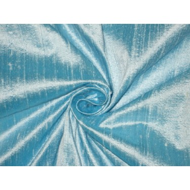 100% Pure SILK Dupioni FABRIC Heavenly Blue 44""