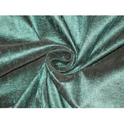 100% Pure SILK Dupioni FABRIC Iridescent Dark Green with Black Shot 44""