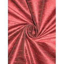 100% Pure SILK Dupioni FABRIC Dark Indian Red with Black Shot 44""