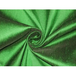 100% Pure SILK Dupioni FABRIC Parrot Green x Black Shot