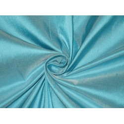 100% Pure SILK Dupioni FABRIC Turquoise Blue