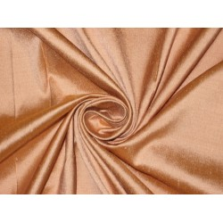 100% Pure SILK Dupioni FABRIC Peachy Rose with Orangeish Mustard Shot 108""