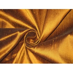 100% Pure SILK Dupioni FABRIC Amber with Black shot