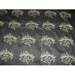 Pure SILK DUPIONI Fabric Embroidery on Jet Black