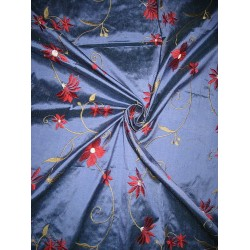 Pure SILK DUPIONI Fabric Floral Embroidery on Blue