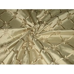 SILK DUPIONI Fabric Dark Fawn color with Embroidery 54""