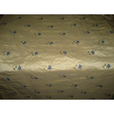 Gold SILK DUPIONI Fabric with blue velvet Embroidery