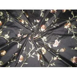SILK DUPIONI Fabric Black color with Floral Embroidery