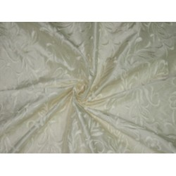 SILK DUPIONI Fabric Cream Ivory/Ivory with Embroidery