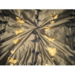 SILK DUPIONI Fabric Dark Greenish Brown with Embroidery