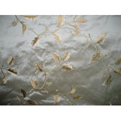 SILK DUPIONI Fabric Floral Embroidery Blue x Beige shot