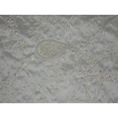 Pure SILK DUPIONI Fabric Floral Embroidery on Ivory