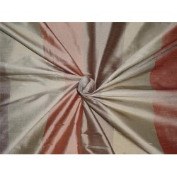 100% pure silk dupion 2.30 yards red brown and olive stripe DUP#S34[3]