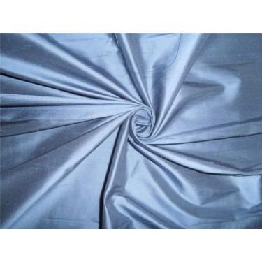 100% PURE SILK DUPIONI DUSTY BLUE FABRIC 44""