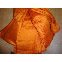 "100% PURE SILK DUPIONI FABRIC ORANGE 54"" WITH SLUBS*"
