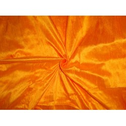 "100% PURE SILK DUPIONI FABRIC HONEY ORANGE 44"" WITH SLUBS*"