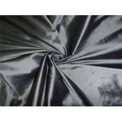 100% PURE SILK DUPIONI FABRIC BLACK X GREY 54""