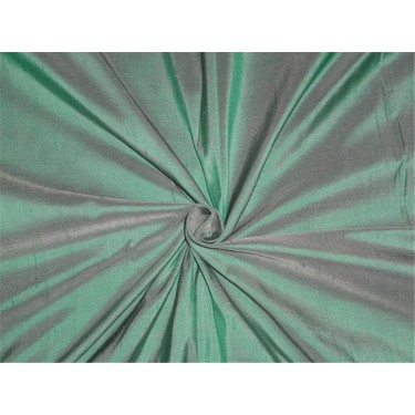 PURE SILK DUPIONI FABRIC GREEN X IVORY