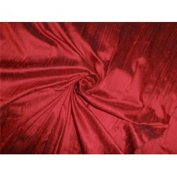 "100% PURE SILK DUPIONI FABRIC RED X BLACK 54"" WITH SLUBS*"