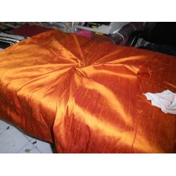"100% Pure SILK Dupioni FABRIC Burnt Orange 54"" with slubs*"