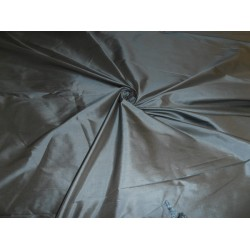 "Pure SILK Dupioni FABRIC dusty blue x beige 108"" wide sold by the yard"