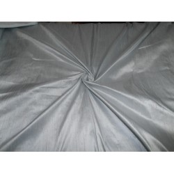 "100% Pure SILK Dupioni FABRIC silver x pale blue 54"" with slubs*"