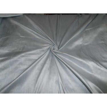 "100% Pure SILK Dupioni FABRIC silver x pale blue 54"" with slubs*MM12[1]"