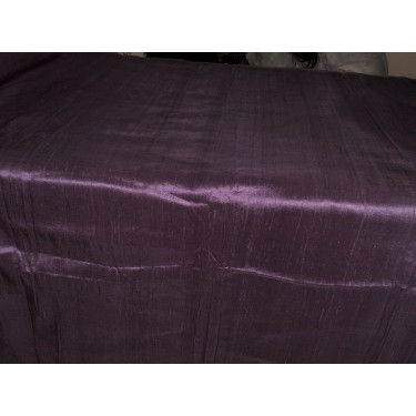 "100% Pure Silk Dupioni Fabric Eggplant 54"" with Slubs"