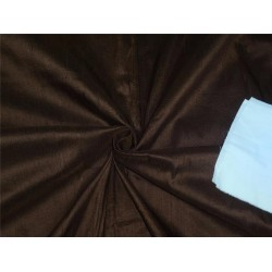 "100% PURE SILK DUPIONI FABRIC COFFEE BROWN 54"" WITH SLUBS*"