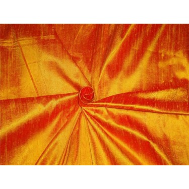 "100% PURE SILK DUPIONI FABRIC YELLOW X RED 54""WITH SLUBS*MM68[4]"