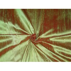"100% PURE SILK DUPIONI FABRIC RED X PISTACHIO GREEN 54""WITH SLUBS*"