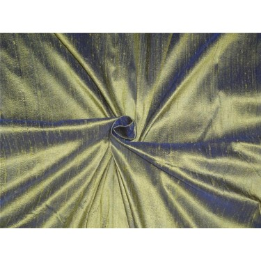 "100% PURE SILK DUPIONI FABRIC BLUE X PISTACHIO GREEN 54"" WITH SLUBS*"