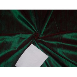 "100% PURE SILK DUPIONI FABRIC RED X GREEN 54"" WITH SLUBS*"